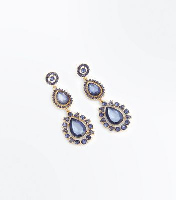 Blue Gem Embellished Teardrop Earrings New Look