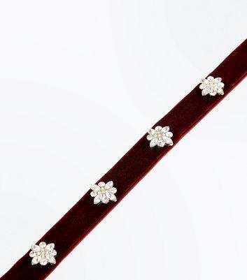 Burgundy Velvet Gem Embellished Choker New Look