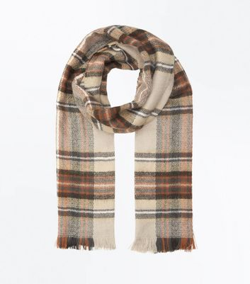 Tan Check Fringed Scarf New Look