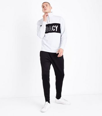 White Legacy Half Zip Jumper New Look