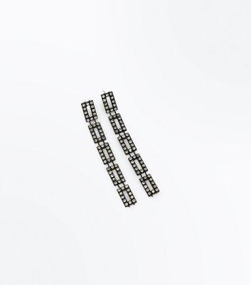 Black Square Diamante Embellished Shoulder Duster Earrings New Look