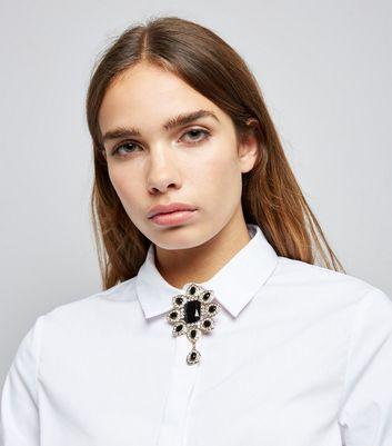 Black Gem Embellished Teardrop Brooch New Look