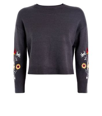 Teens Grey Floral Embroidered Sleeve Jumper New Look