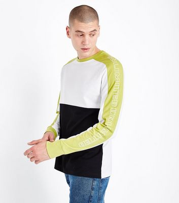 Navy Lime Print Panel Sweatshirt New Look