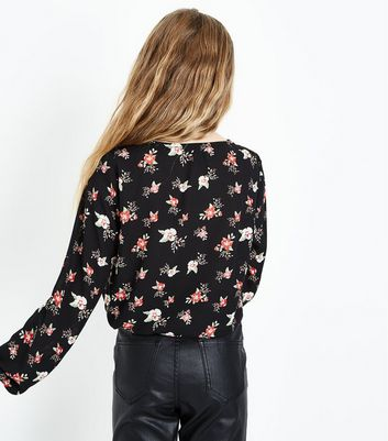Teens Black Floral Lattice Front Top New Look