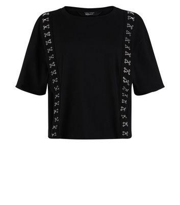 Teens Black Hook and Eye Trim T-Shirt New Look