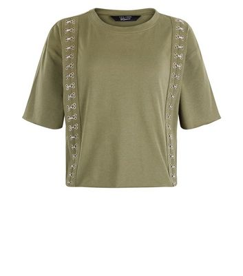 Teens Khaki Hook and Eye Trim T-Shirt New Look