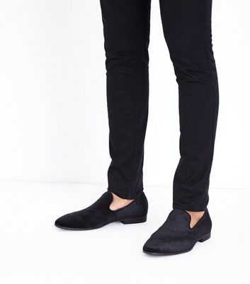 Black Faux Velvet Loafers New Look