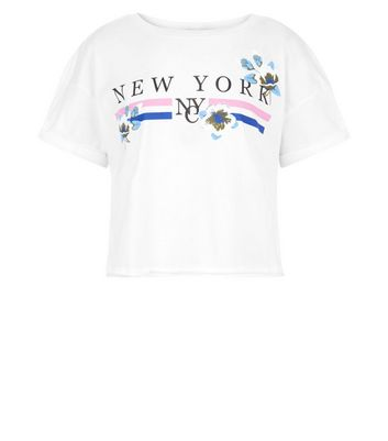 Teens White New York Slogan Puff Print T-Shirt New Look