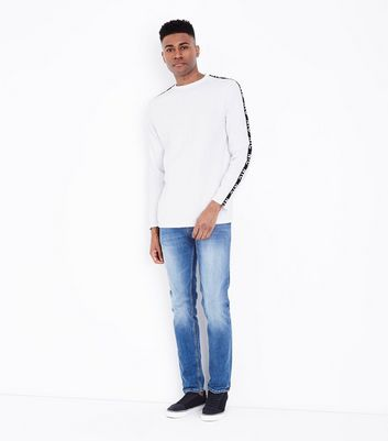 White Printed Tape Long Sleeve T-Shirt New Look