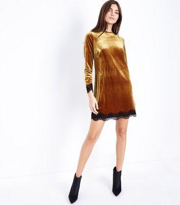 Yellow Velvet Lace Trim Tunic Dress New Look