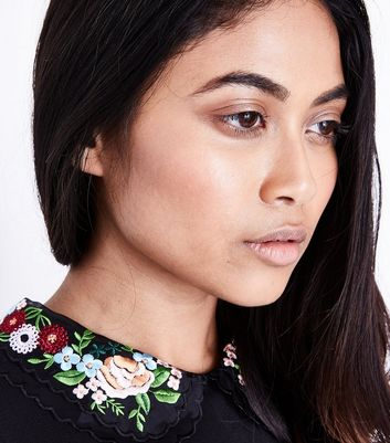 Petite Black Floral Embroidered Collar Dress New Look