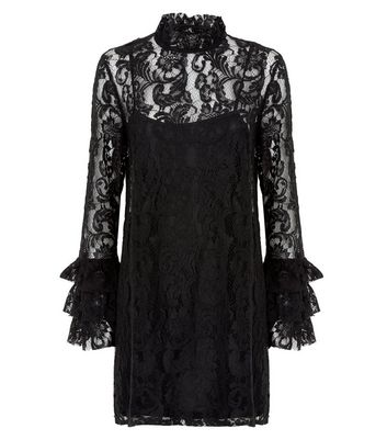 Black Lace Tiered Sleeve Tunic Dress New Look