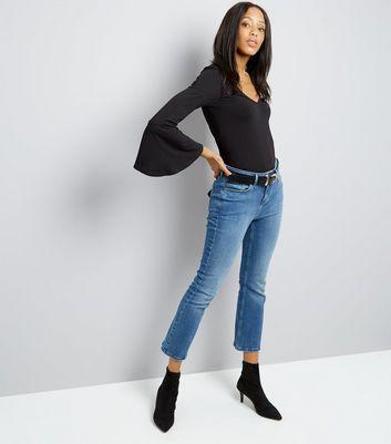 Black V Neck Bell Sleeve Top New Look