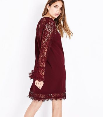 Burgundy Lace Trim Bell Sleeve Tunic Dress New Look
