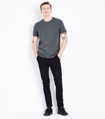 Grey Contrast Trim T-Shirt New Look