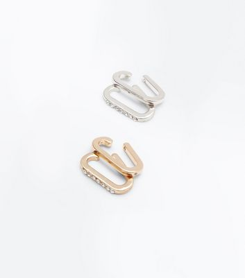 4 Pack Rose Gold and Silver Lobe Cuffs New Look