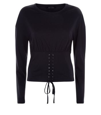Black Long Sleeve Corset T-Shirt New Look