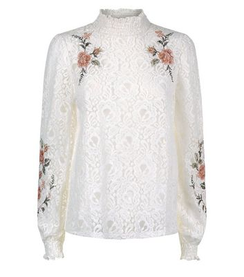 Cream Lace Embroidered High Neck Top New Look