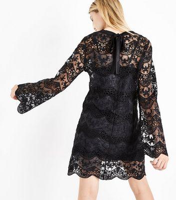 Blue Vanilla Black Lace Flare Sleeve Tunic Dress New Look
