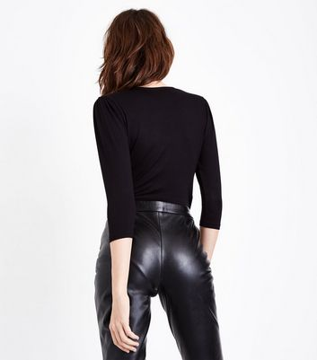 Black Wrap Front Bodysuit New Look