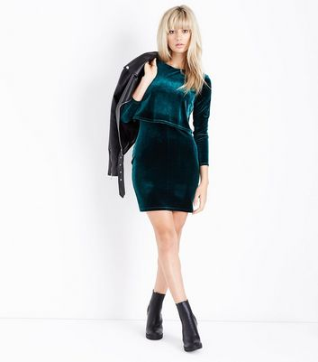 Dark Green Velvet Layered A-Line Dress New Look