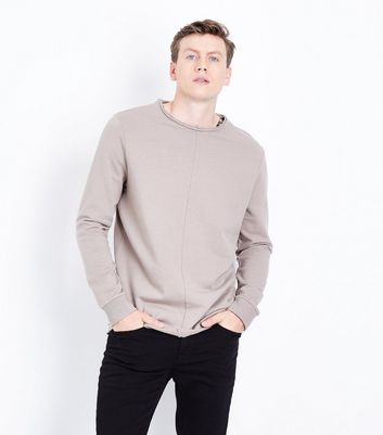 Olive Raw Hem Sweatshirt New Look