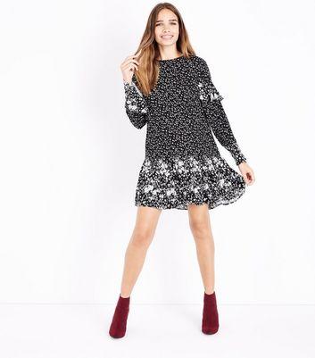 Black Contrast Floral Frill Trim Smock Dress New Look