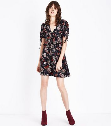 Black Floral Frill and Lace Trim Tea Dress New Look