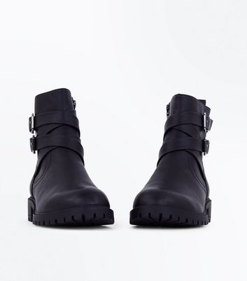 Black Buckle Strap Side Biker Boots New Look