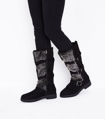 Black Faux Fur Trim High Leg Boots New Look