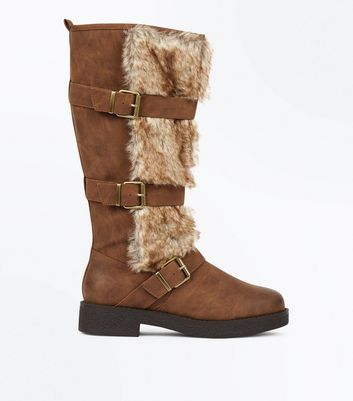 Tan Faux Fur Trim High Leg Boots New Look