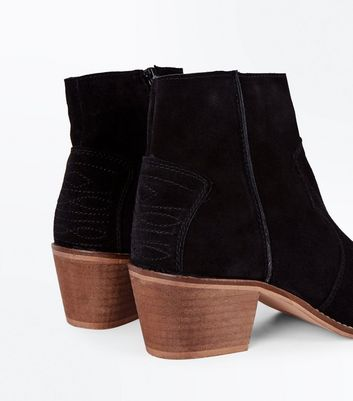 Black Suede Western Stitch Heeled Ankle Boots New Look