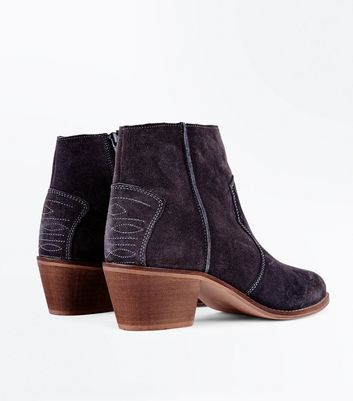 Grey Suede Western Stitch Heeled Ankle Boots New Look