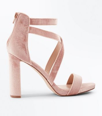 Nude Velvet Strappy Block Heel Sandals New Look