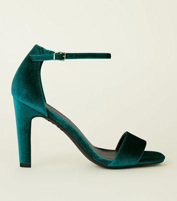 Sandales bleu turquoise en velours à talons blocs | New Look