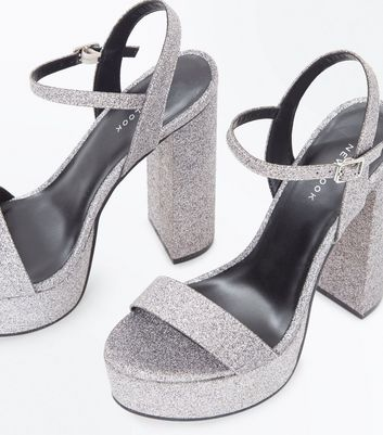 Silver Glitter Platform Block Heel Sandals New Look
