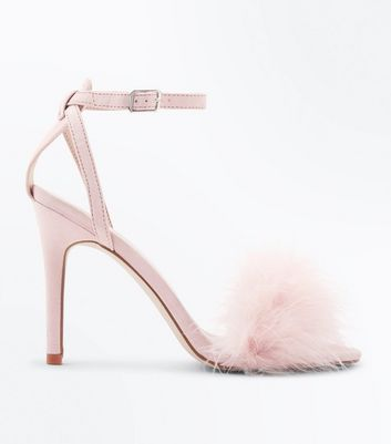 Pink Suedette Feather Strap Stiletto Sandals