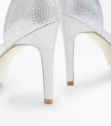Silver Diamante Studded Ankle Strap Heels New Look