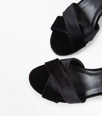 Black Velvet Cross Strap Platform Sandals New Look