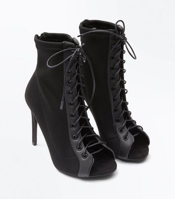 Black Knit Lace Up Peep Toe Stiletto Boots New Look