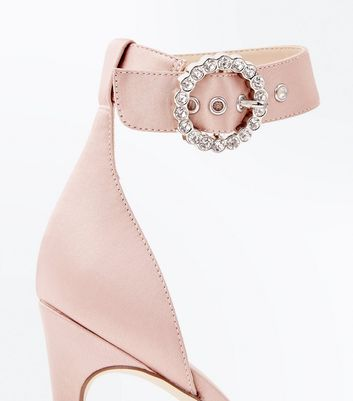 Nude Satin Diamante Ring Buckle Sandals New Look