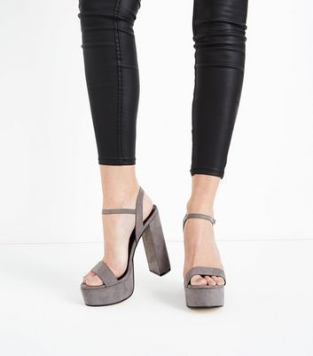 Grey Suedette Platform Block Heel Sandals New Look