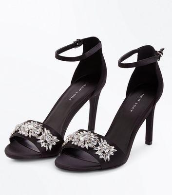 Black Satin Floral Gem Embellished Stiletto Sandals New Look