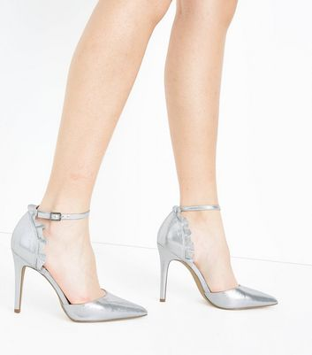 Silver Shimmer Frill Back Pointed Heels New Look