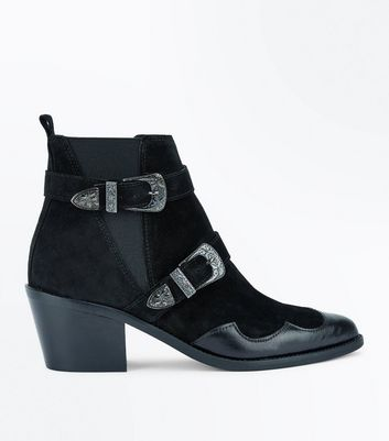 Black Suede Double Buckle Western Boots New Look