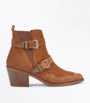 Tan Suede Double Buckle Western Boots New Look