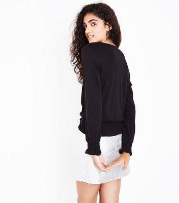 Black Shirred Cuff Long Sleeve Top New Look
