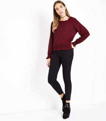 Burgundy Shirred Cuff Long Sleeve Top New Look