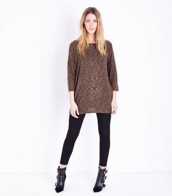 Tall Khaki Lattice Back Fine Knit Top New Look